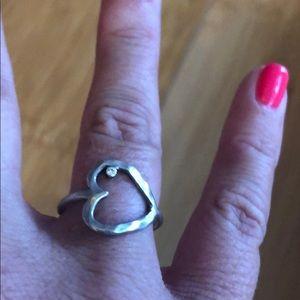 Open heart ring w/ real diamond